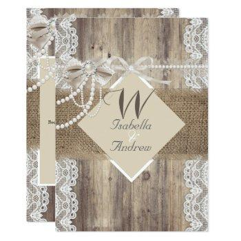 rustic wedding beige pearl lace wood burlap invitation