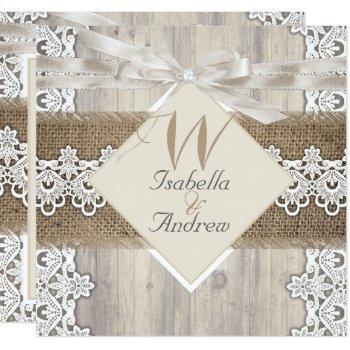rustic wedding beige white lace wood burlap ab invitation