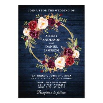 rustic wedding blue wood burgundy wreath invite