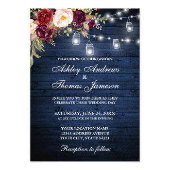 rustic wedding blue wood lights jars floral invitation