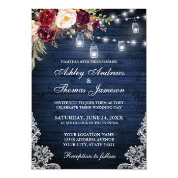 rustic wedding blue wood lights jars lace floral invitation