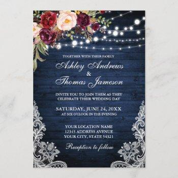 rustic wedding blue wood lights lace floral invite