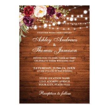 rustic wedding burgundy floral wood lights invite