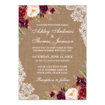 rustic wedding burlap burgundy floral lace invite