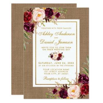 rustic wedding burlap burgundy wedding invite