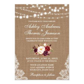 rustic wedding burlap lace lights floral invite b
