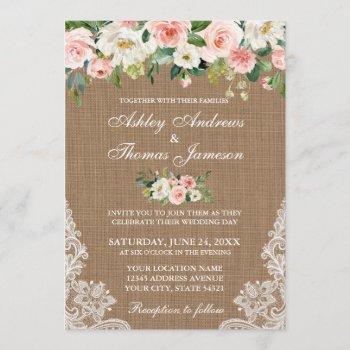 rustic wedding burlap lace pink floral invite