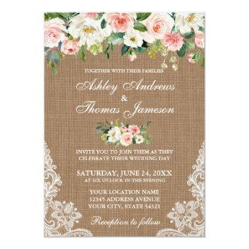 rustic wedding burlap lace pink floral invite
