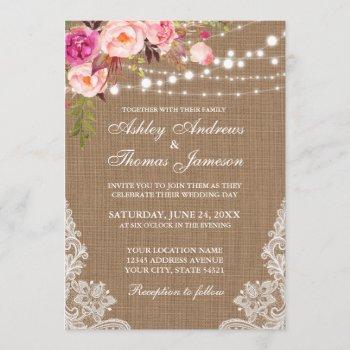 rustic wedding burlap lights floral lace invite