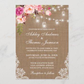 rustic wedding burlap lights jars lace pink floral invitation