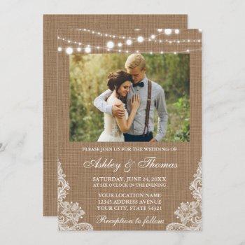 rustic wedding burlap lights lace photo invitation