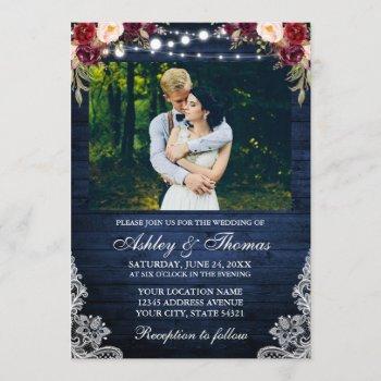 rustic wedding floral blue wood lights lace photo invitation