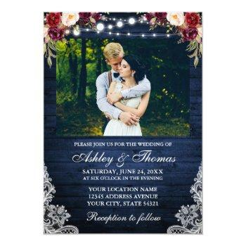 Small Rustic Wedding Floral Blue Wood Lights Lace Photo Invitation Front View