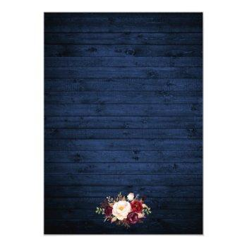 Small Rustic Wedding Floral Blue Wood Lights Lace Photo Invitation Back View