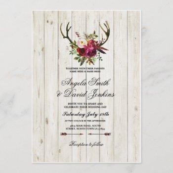 rustic wedding invitations antlers floral stag