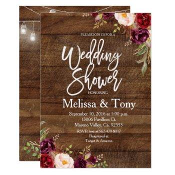 rustic wedding shower invitation