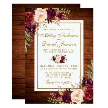 rustic wedding wood burgundy floral wedding invite