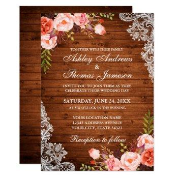 rustic wedding wood coral floral lace invite