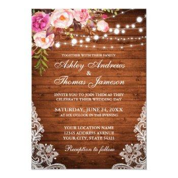 rustic wedding wood lights floral lace invite