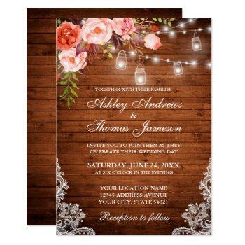 rustic wedding wood lights jars lace coral floral invitation