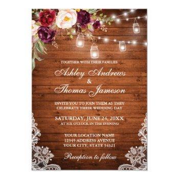 rustic wedding wood lights jars lace floral invitation