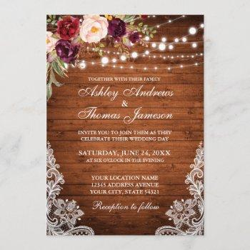 rustic wedding wood lights lace floral invite
