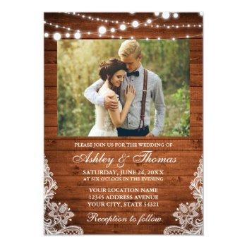 Small Rustic Wedding Wood Lights Lace Photo Invitation Front View