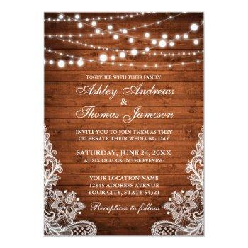 rustic wedding wood string lights lace invite