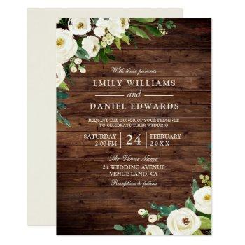 rustic white champagne flowers wedding invitation