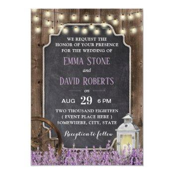 rustic white lantern lavender floral wedding invitation