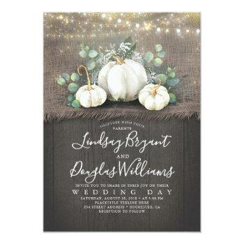 Small Rustic White Pumpkin And Baby's Breath Wedding Invitation Front View