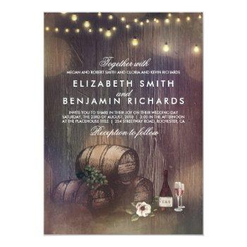 rustic winery and string lights wedding invitation