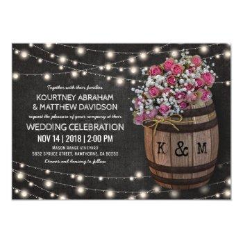 rustic winery pink floral lights wedding invitation