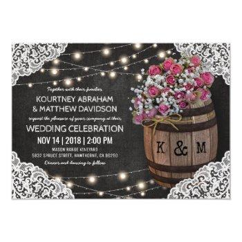 rustic winery wedding invitation | string lights