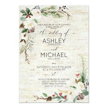 Small Rustic Winter Birch Calligraphy Botanical Wedding Invitation Front View