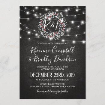 rustic winter christmas wreath lights wedding invitation