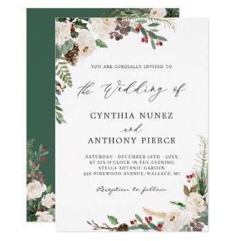 rustic winter floral berries pine cone wedding invitation
