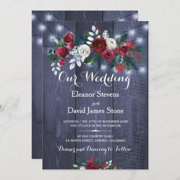 rustic winter lights burgundy floral wedding invitation