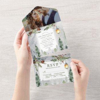rustic winter pine trees botanical lantern wedding all in one invitation