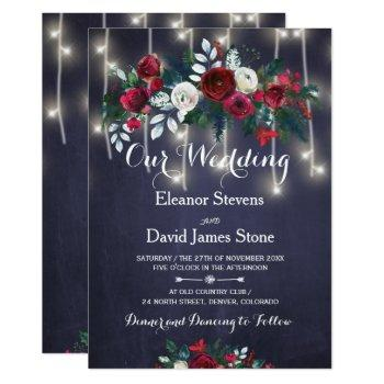 rustic winter red burgundy navy floral wedding invitation
