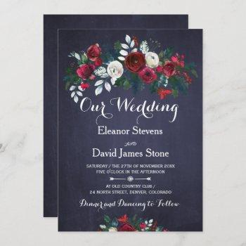 rustic winter red burgundy navy floral wedding invitation