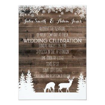 rustic winter wedding invitation - deer