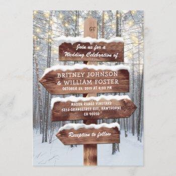 rustic winter wonderland woodland lights wedding invitation