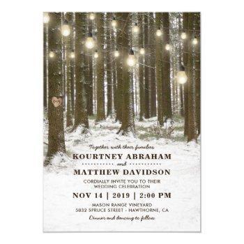 rustic winter woodland tree string lights wedding invitation