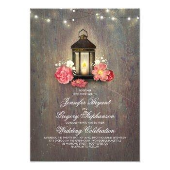 rustic wood and floral lantern lights fall wedding invitation