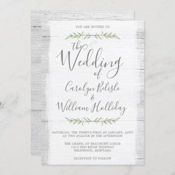 rustic wood & botanical leaves wedding invitation