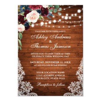 rustic wood burgundy blue floral wedding invite