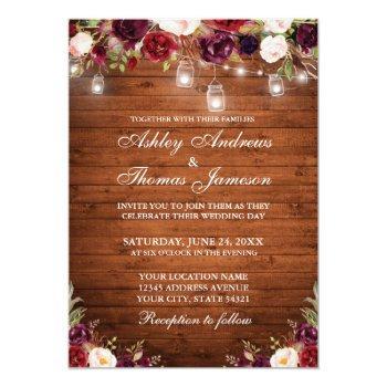rustic wood burgundy floral jar lights wedding invitation