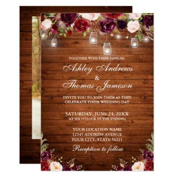 rustic wood burgundy floral lights photo wedding invitation