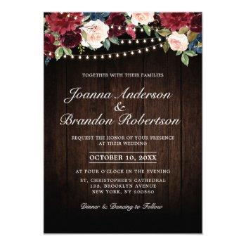 rustic wood burgundy floral string lights invitation